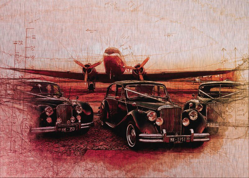 Tablou masini vintage pe aluminiu striat - Aspect zona intunecata