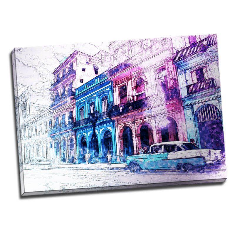 Tablou Cuba modern - Plimbare in Havana - Aspect zona luminata