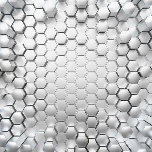 Fototapet modern cu efect 3D - Fagure din titan - Catalog