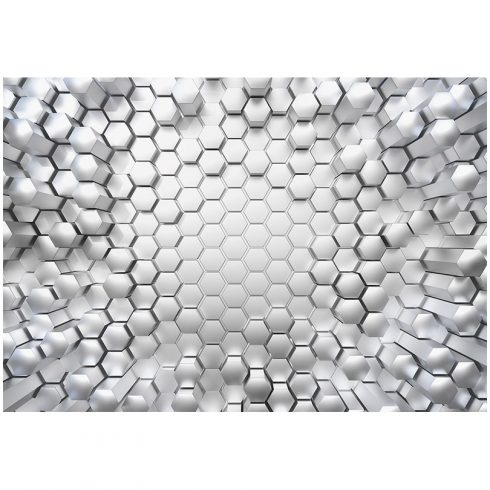 Fototapet modern cu efect 3D – Fagure din titan