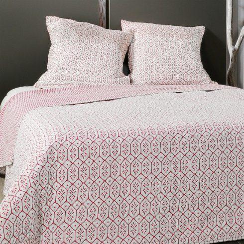 Cuvertura de pat moderna alba cu romburi rosii Faro - Catalog