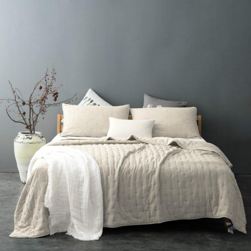 Cuvertura pentru pat crem moderna Iroise - Catalog