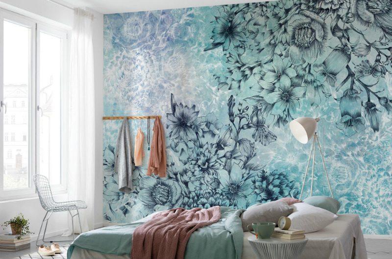 Fototapet albastru cu flori delicate - Ambient