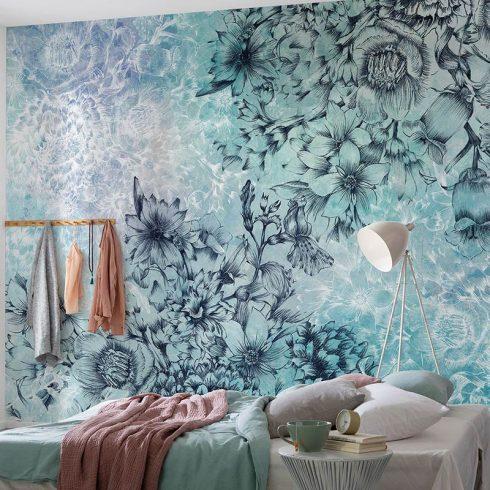 Fototapet albastru cu flori delicate