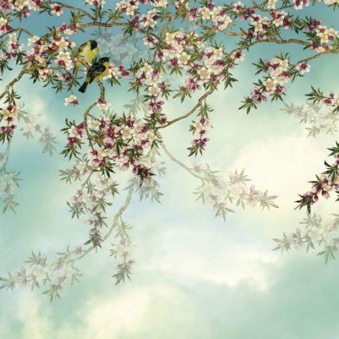 Fototapet cu flori de cires si pasari Sakura - Catalog