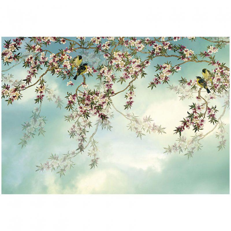 Fototapet cu flori de cires si pasari Sakura