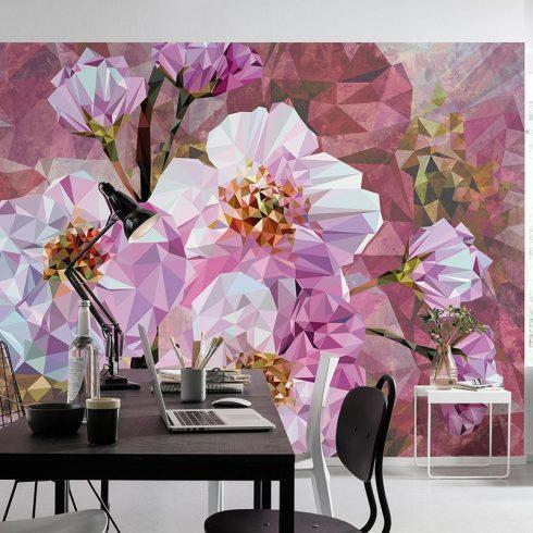Fototapet modern cu flori roz
