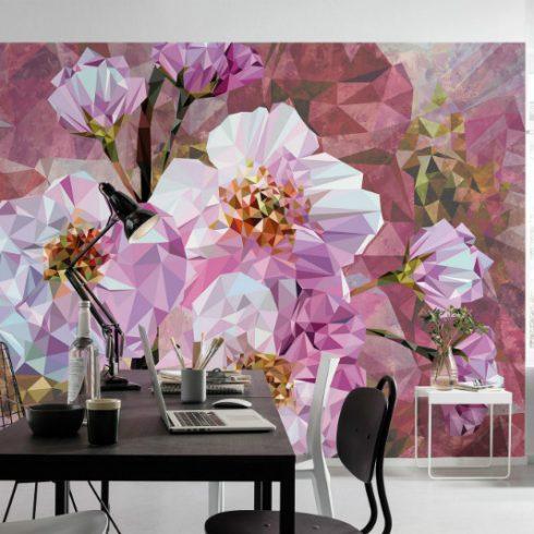 Fototapet modern cu flori roz de cristal - Ambient