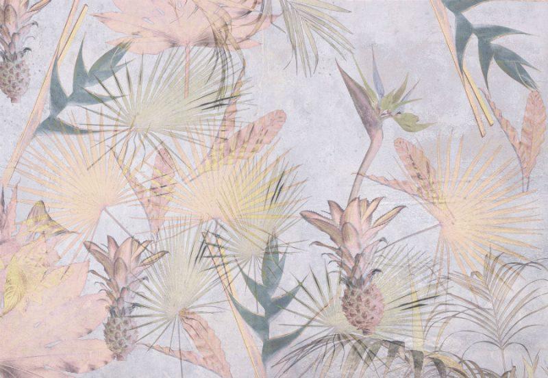 Fototapet tropical cu flori si ananasi - Catalog