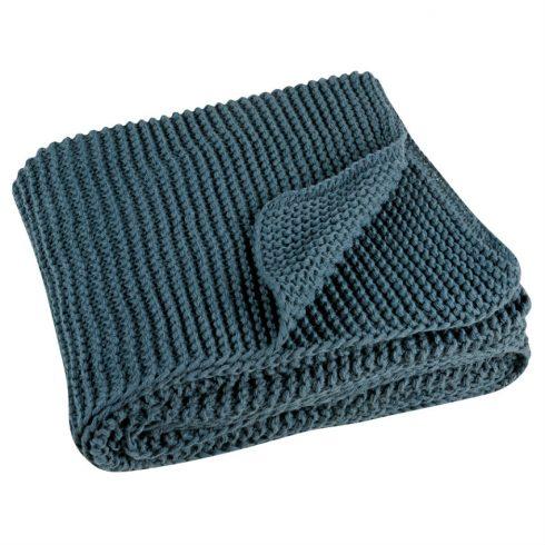 Pled tricotat albastru 130x180 cm Kinoa - Catalog