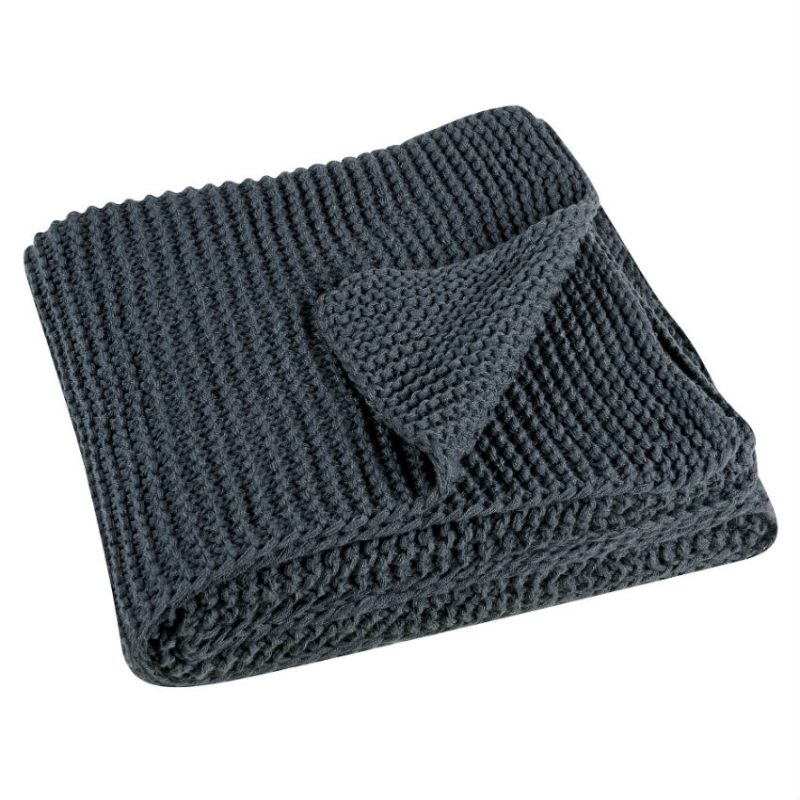Pled tricotat gri 130x180 cm Kinoa - Catalog