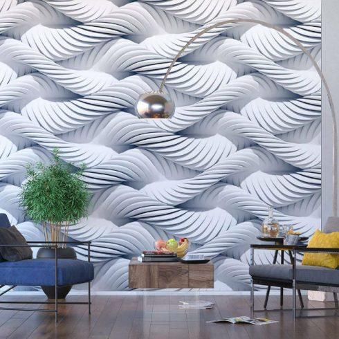 Fototapet modern spirale albe impletite - Ambient