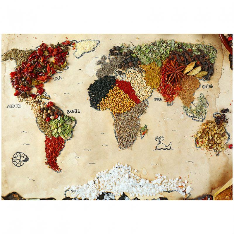 Fototapet bucatarie cu harta lumii - Catalog