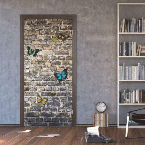 Fototapet cu fluturi pe zid de piatra - Ambient