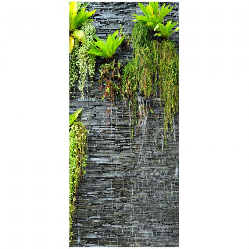 Fototapet usa perete de piatra cu plante - Catalog
