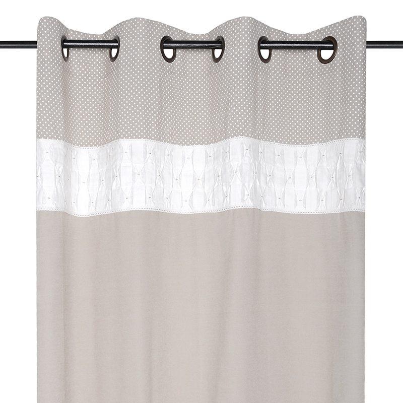 Draperie rustica bej cu bordura decorativa Loreline