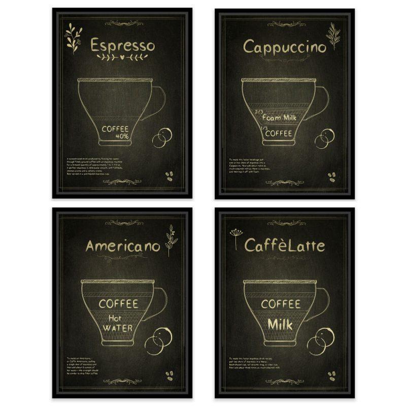 Set patru tablouri cafenea Flavours - Catalog 2