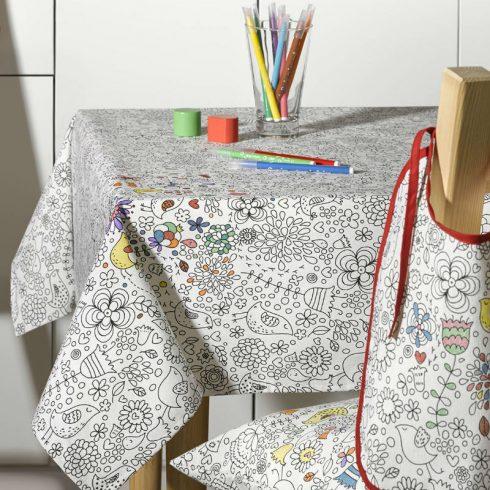 Fata de masa pentru colorat cu flori si pasari - Catalog