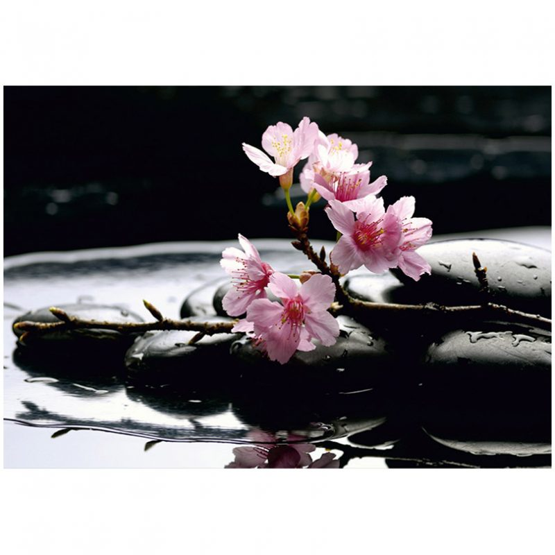 Fototapet cu flori de cires si pietre Feng Shui