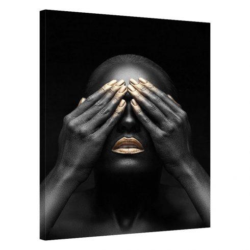 Tablou negru cu auriu femeie Hide