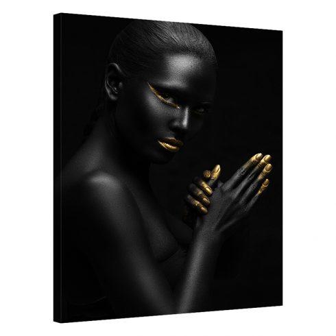 Tablou negru cu auriu femeie Prepare