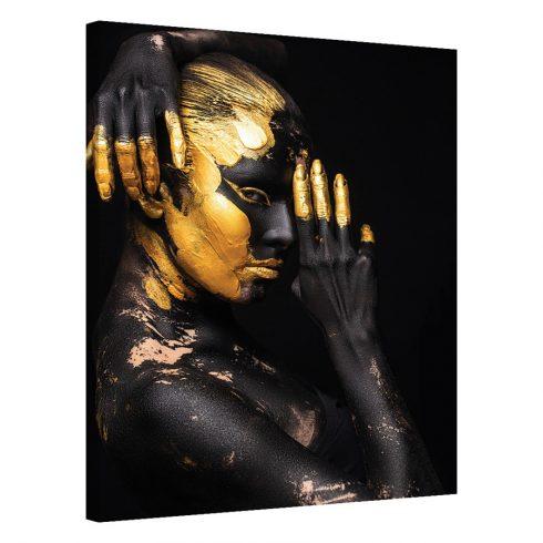 Tablou negru chip de femeie Golden Posture