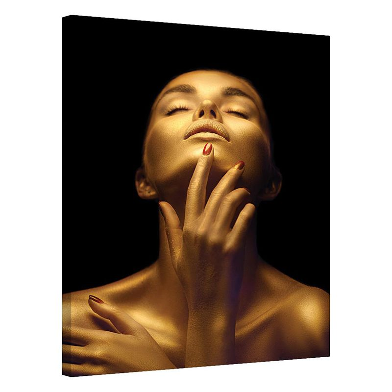 Tablou portret de femeie auriu Incredere