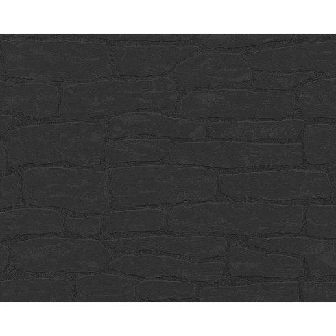 Tapet negru piatra vlies AS Creation