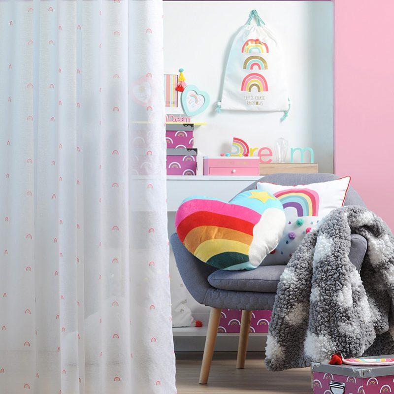 Perdea camera copii alba Rainbow