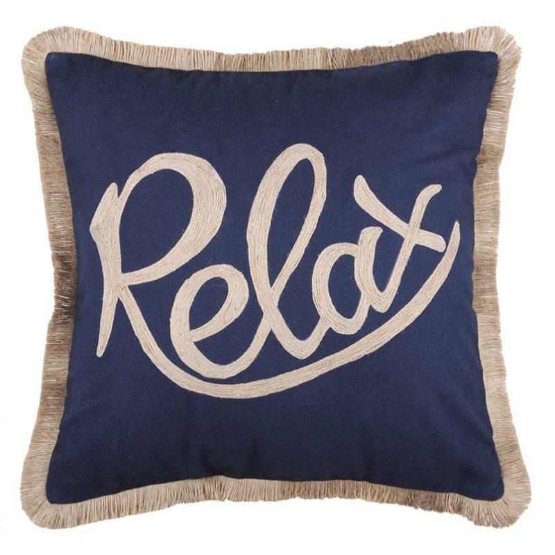 Perna decorativa albastra cu franjuri Relax