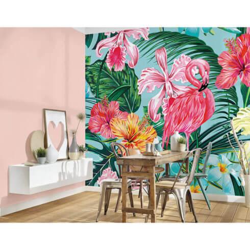 fototapet flamingo si flori exotice