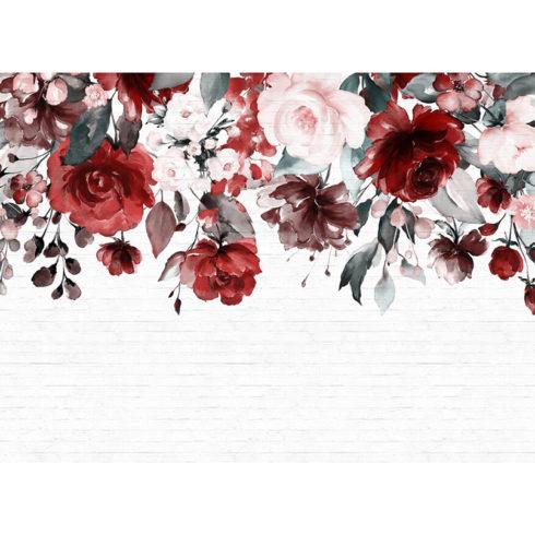 Fototapet ghirlanda de trandafiri pastel