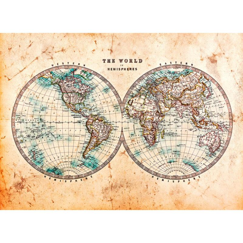 Fototapet harta lumii vintage in emisfere