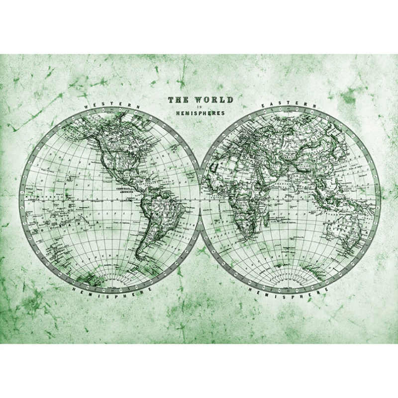Fototapet harta lumii vintage verde in emisfere