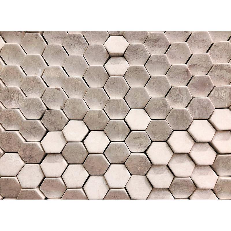 Fototapet efect 3D Hexagon Surf Bej