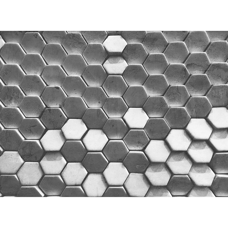Fototapet efect 3D Hexagon Surf Gri