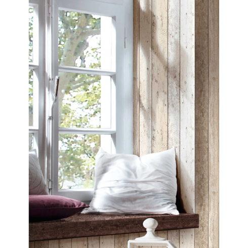 Tapet vlies lemn boho vintage bej Ambient