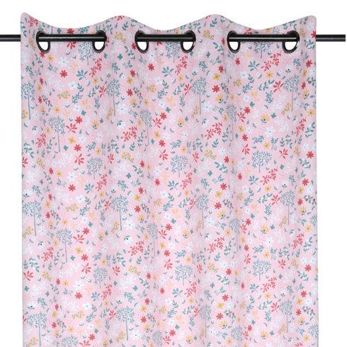 Draperie fete roz cu flori colorate