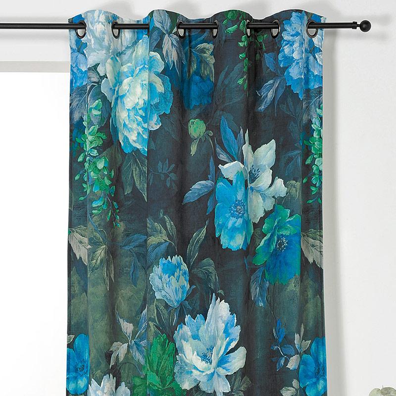 Draperie catifea cu flori albastre Pivoine