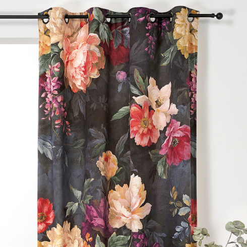 Draperie catifea cu flori colorate Pivoine