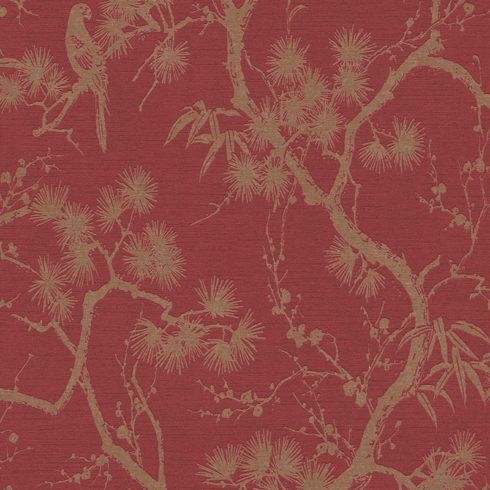 Tapet dormitor rosu Arbore de Matase