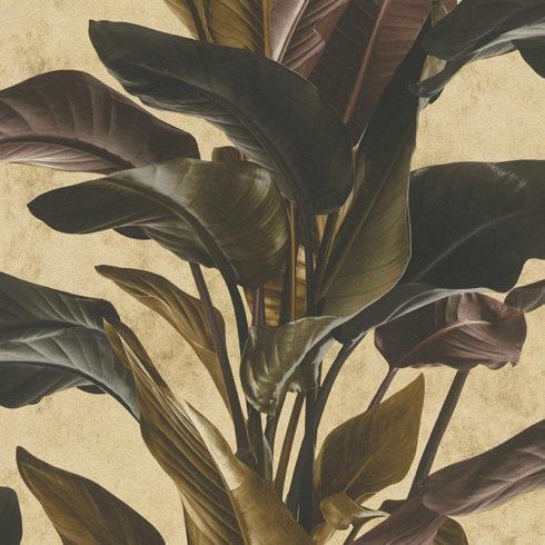Tapet frunze exotice cu fundal auriu