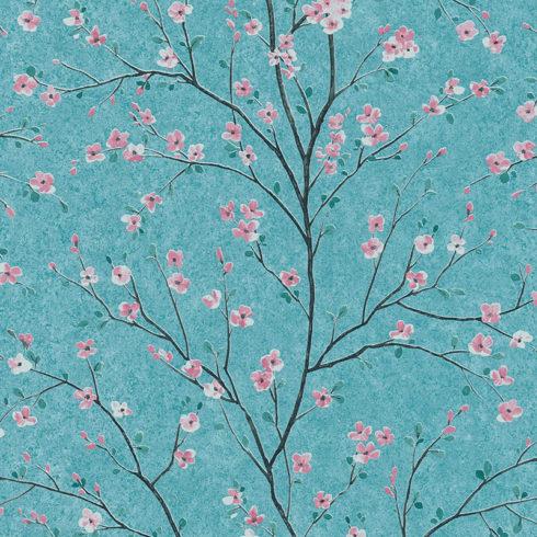 Tapet japonez bleu cu flori de cires