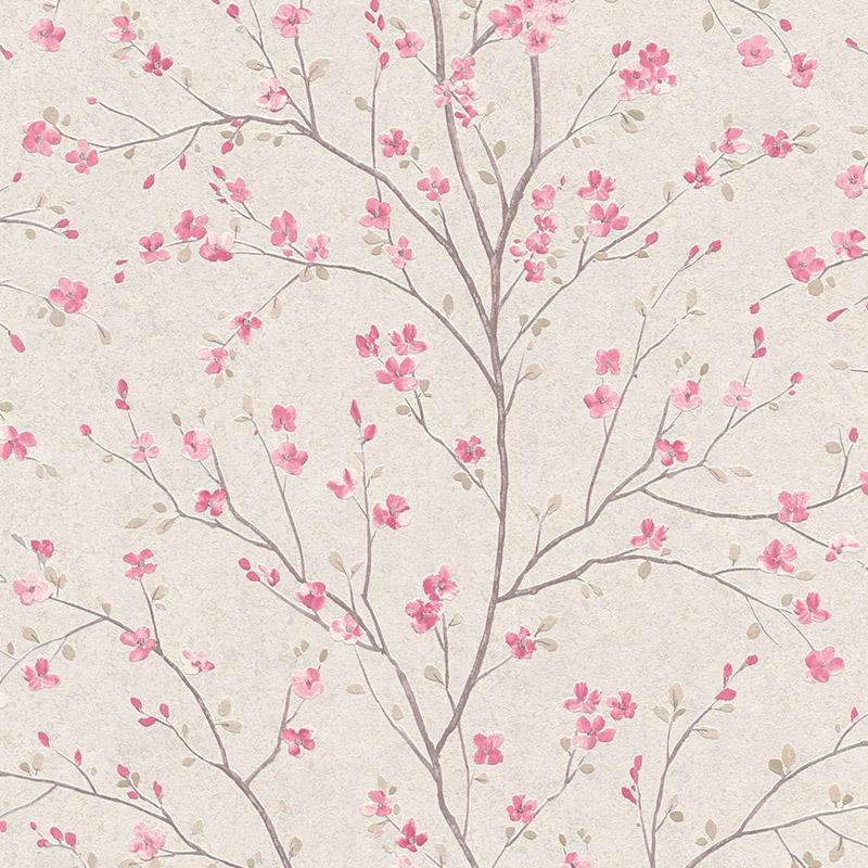 Tapet japonez crem cu flori de cires