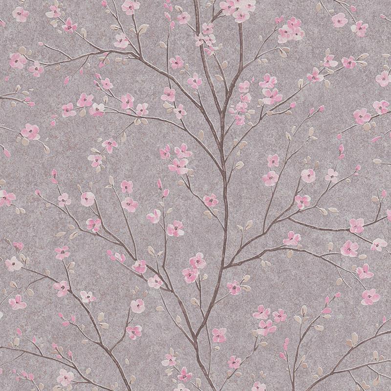 Tapet japonez gri cu flori de cires