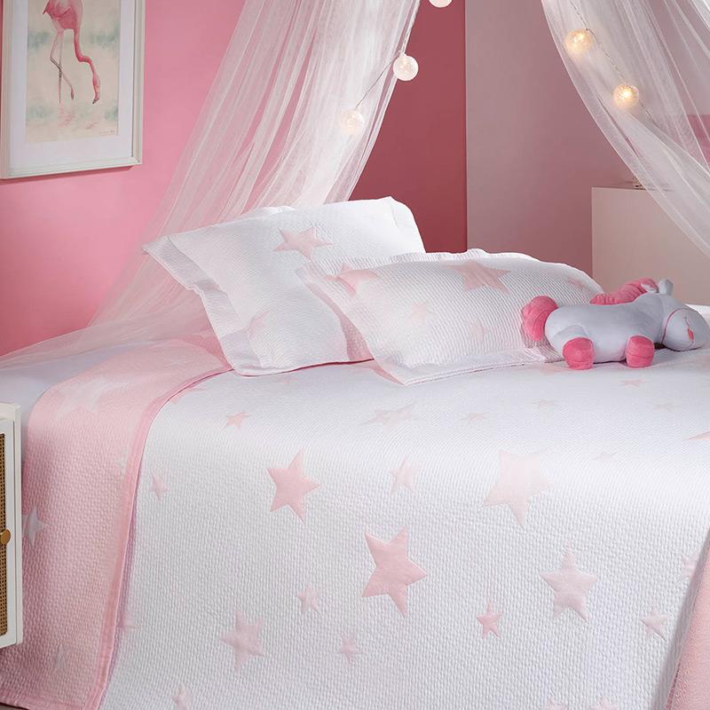 Cuvertura pat fete alba cu stelute roz Stars