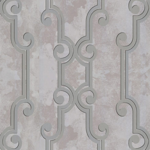 Tapet argintiu vlies model Art Deco