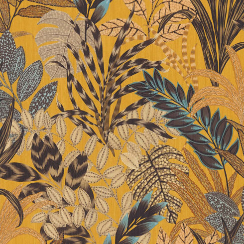 Tapet galben cu palnte exotice