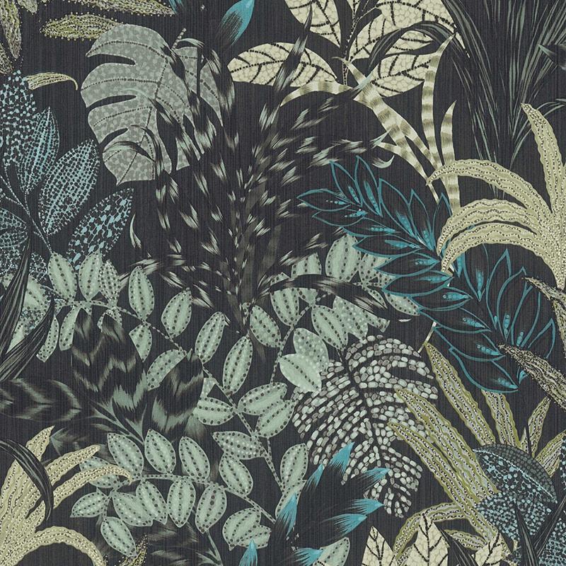Tapet negru cu palnte exotice verzi