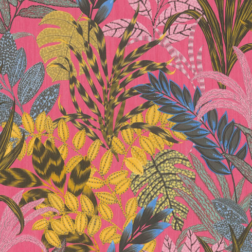 Tapet roz cu palnte exotice